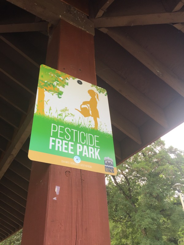 Pesticide Free Park signage was put up today by City of Reno staff at 12 parks, include Virginia Lake.