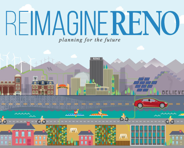 ReImagine Reno Logo with drawing of City of Reno
