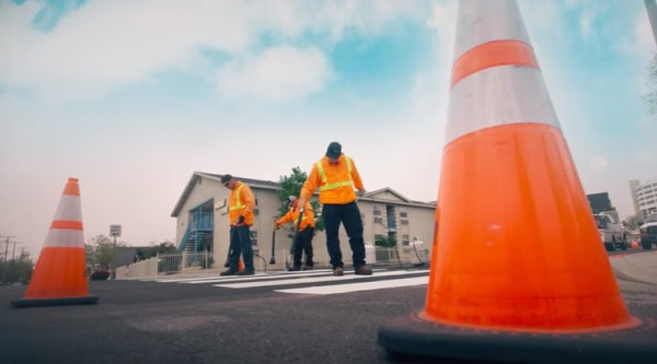 Public Works Employees install crosswalk in Reno