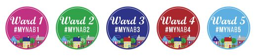 Neighborhood Advisory Board buttons with hashtags