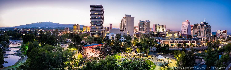 Panoramic view of Artown closing night in Reno