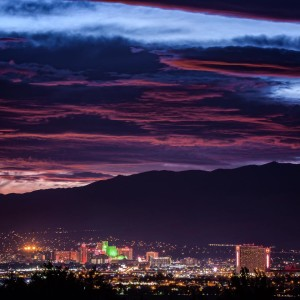 Downtown Reno skyline at sunset