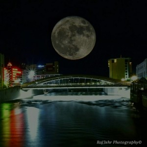 Supermoon over Virginia Street Bridge