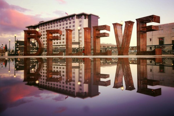BELIEVE sculpture reflection