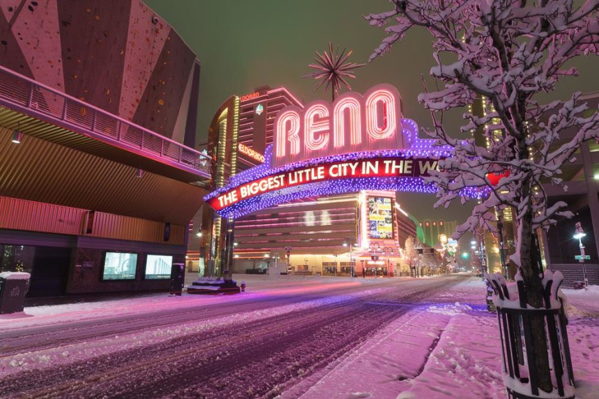 Reno Arch covered in snow