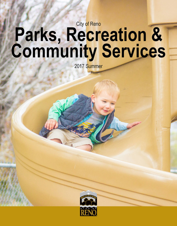 2017 Summer Parks and Recreation Cover with boy sliding down slide