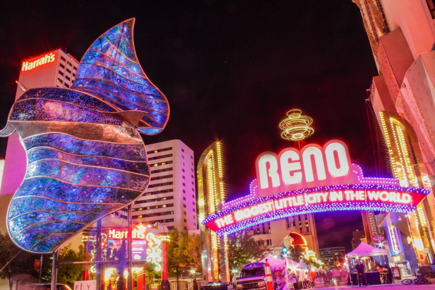 Reno Arch during Sculpture Fest at night
