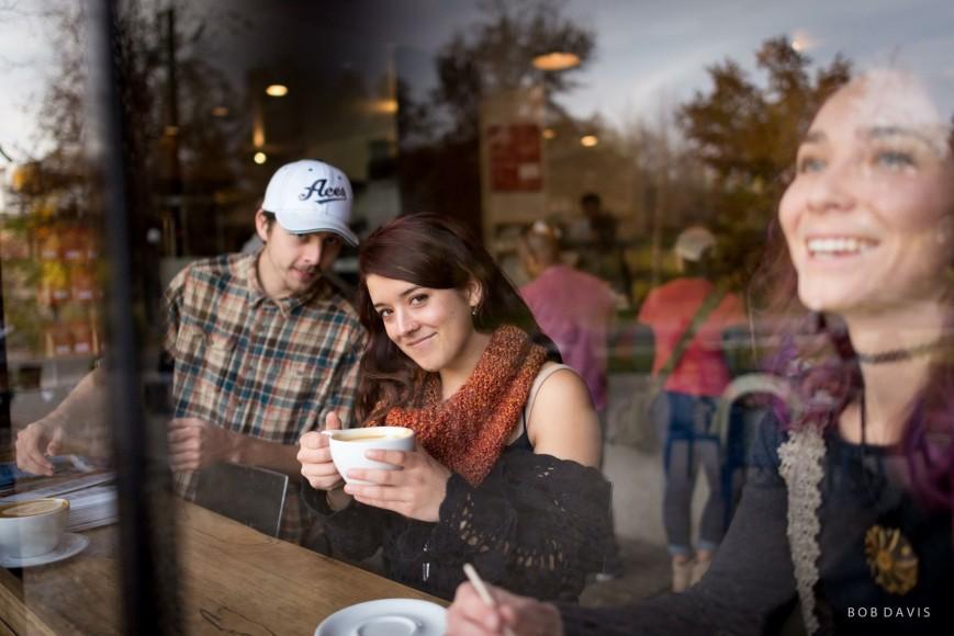 People enjoying coffee at The Hub