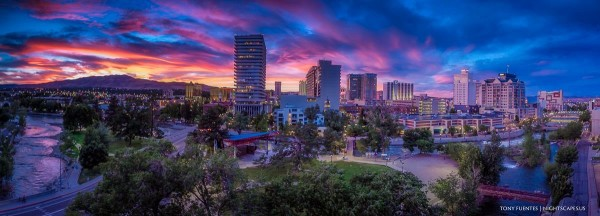 Sunset over downtown Reno