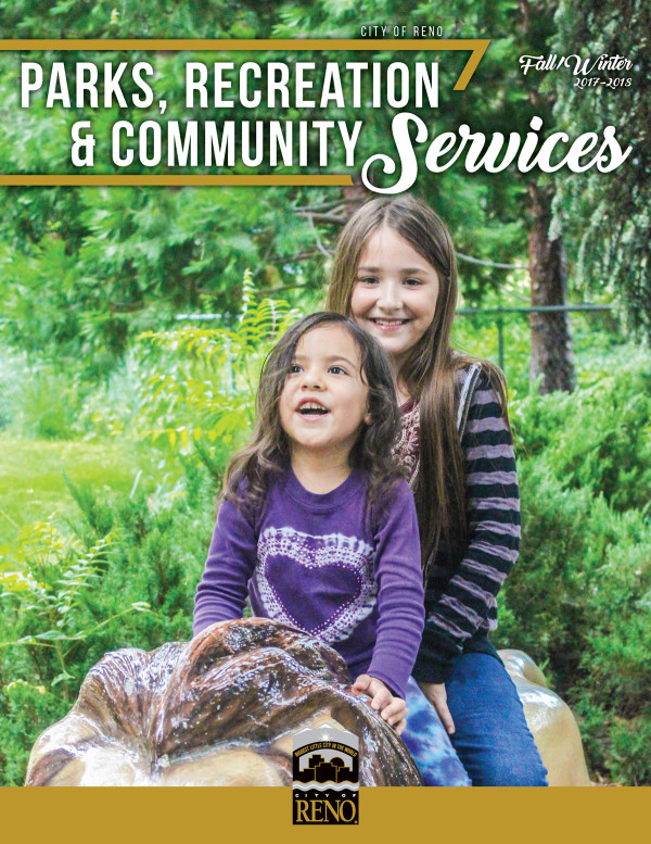 Cover of Fall/Winter 2017 Parks and Recreation Activity Guide with 2 girls sitting in a park