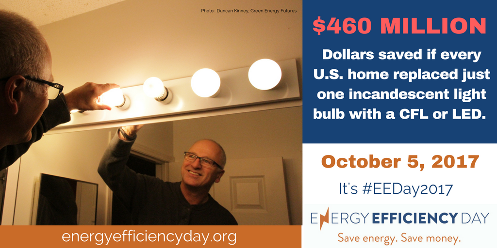 Person changing light bulb with text to visit energyefficiencyday.org and Oct 5 2017 is energy efficiency day