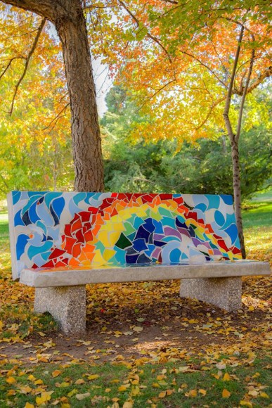 Bench at San Rafael Park during the fall