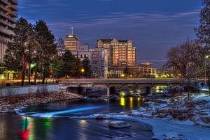 Downtown Reno at night with river in view in winter