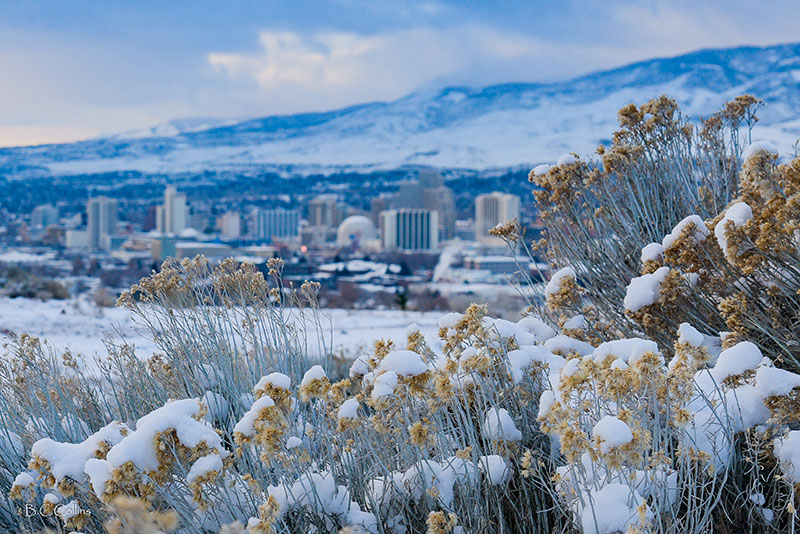 Overview of Reno in winter