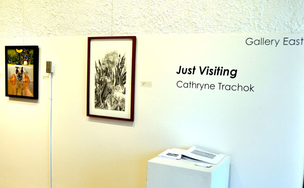 Just Visiting Cathryne Trachok gallery with two photos on wall