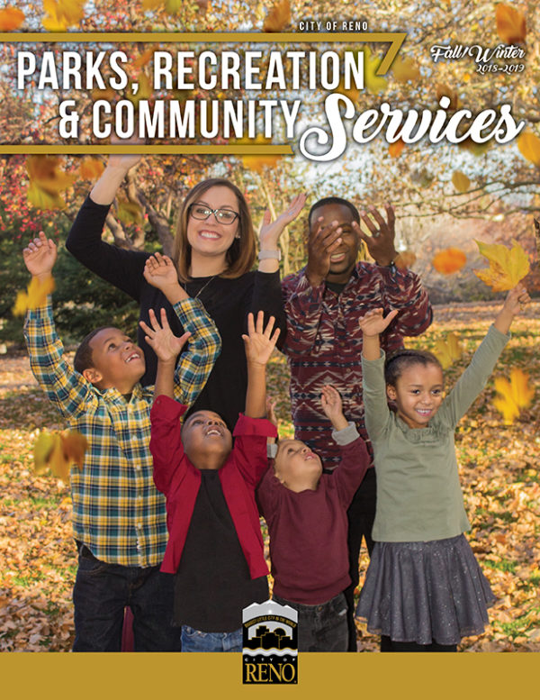 Cover of 2018 2019 Fall Winter Parks and Rec Activity Guide with people throwing leaves up in the air