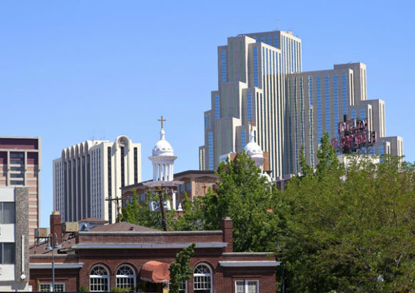 View of Silver Legacy and surrounding buildings from a distance