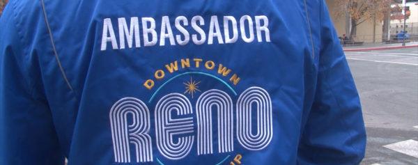 Back of person wearing a Downtown Reno Ambassador jacket