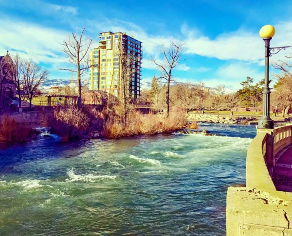 Truckee River with Wingfield Park in the background