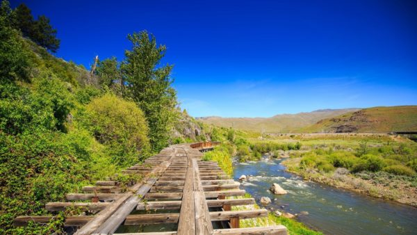 View of old railroad tracks next to Truckee River
