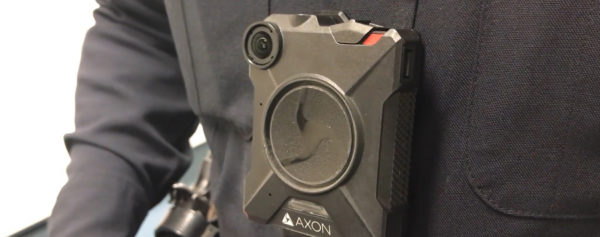 Close up of body camera on police officer