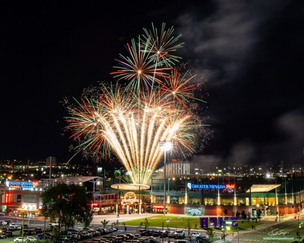 Firework show after an Aces game at Greater Nevada Field