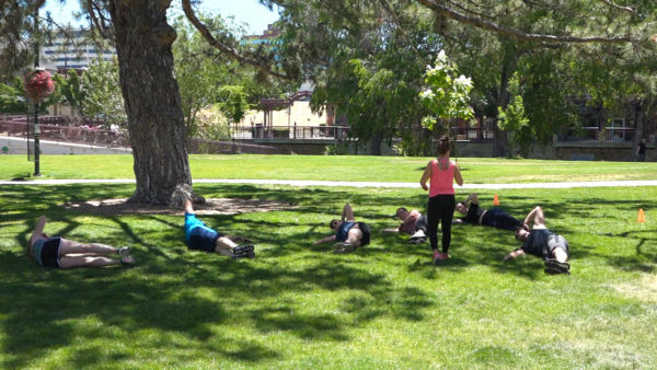 Group of people exercising in Wingfield Park